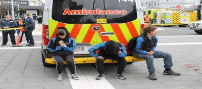Three students played the role of injured passengers, acting out the injuries commonly seen in the event of the emergency brake application required when someone or something obstructs the tracks as the tram approaches.
