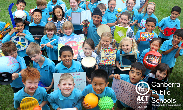 Photo of a culturally diverse group of primary school students all holding objects related to their learning