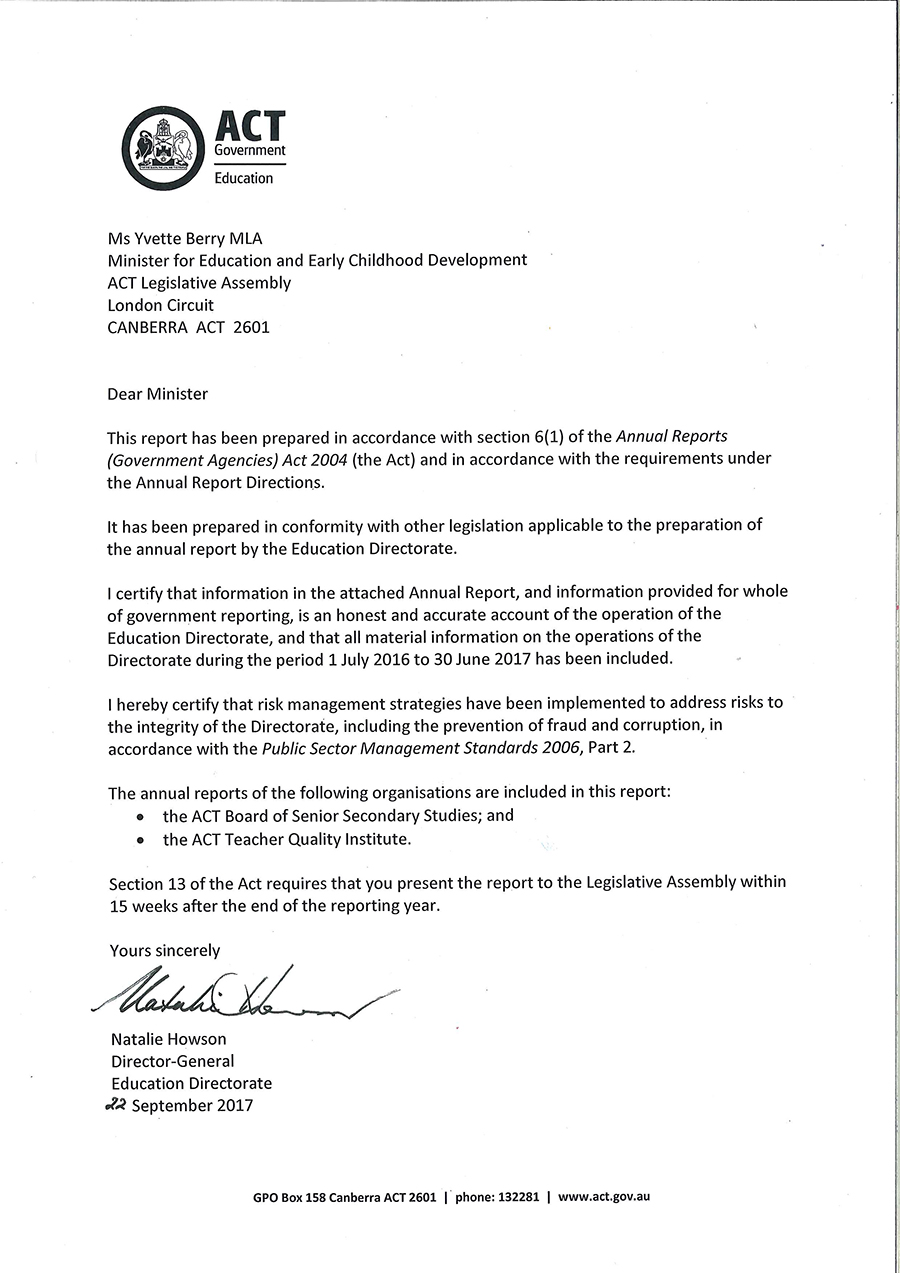 The image is the scanned letter of transmittal signed by the Director-General of the Education Directorate, Natalie Howson. If you would like assistance with accessing the contents of the letter please contact (02) 6205 4674.