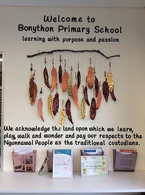 Explosions of colour, intricate brush strokes, wool wrapped art sticks and collaborative pieces made for an exceptional 'Acknowledging Country' Art Exhibition by Bonython Primary School students.