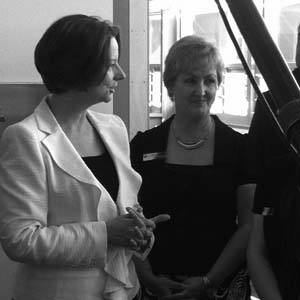 Photo of Prime Minister Julia Gillard, pictured with Principal Gai Beecher, visited Gungahlin College to hear the benefits of empowering principals in running autonomous schools.